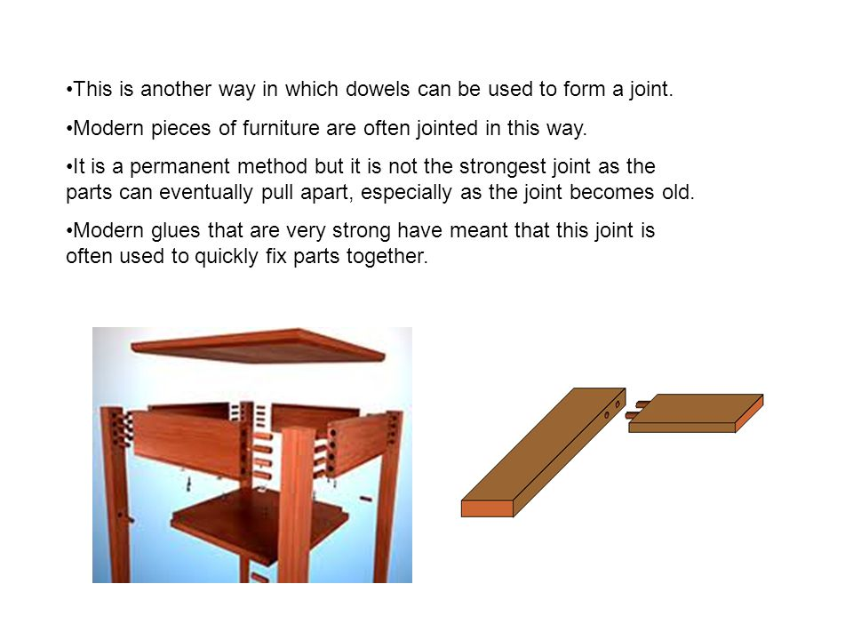This is another way in which dowels can be used to form a joint.