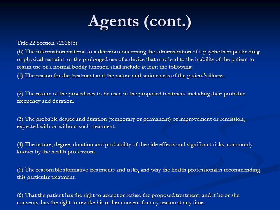 Agents (cont.)
