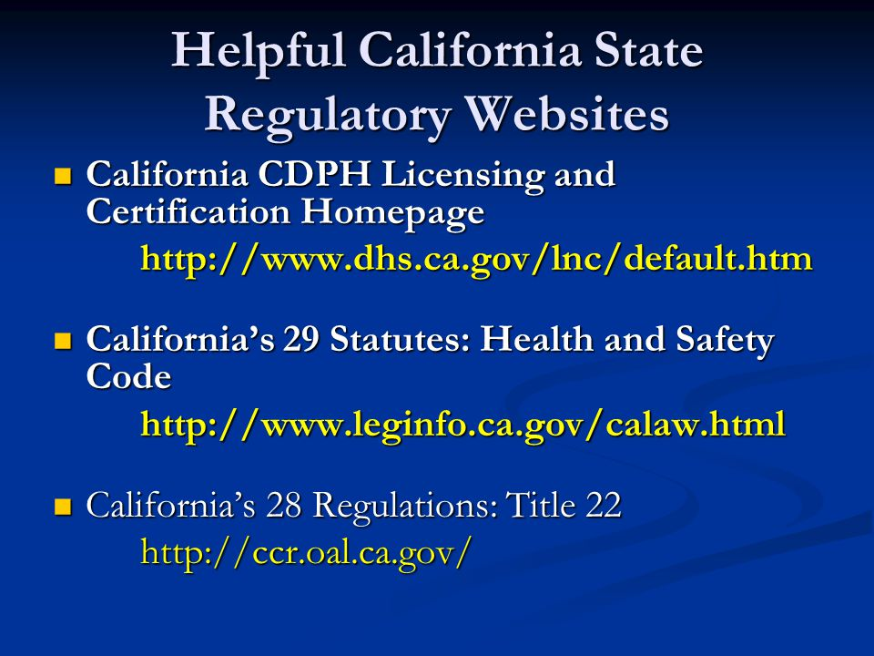 Helpful California State Regulatory Websites