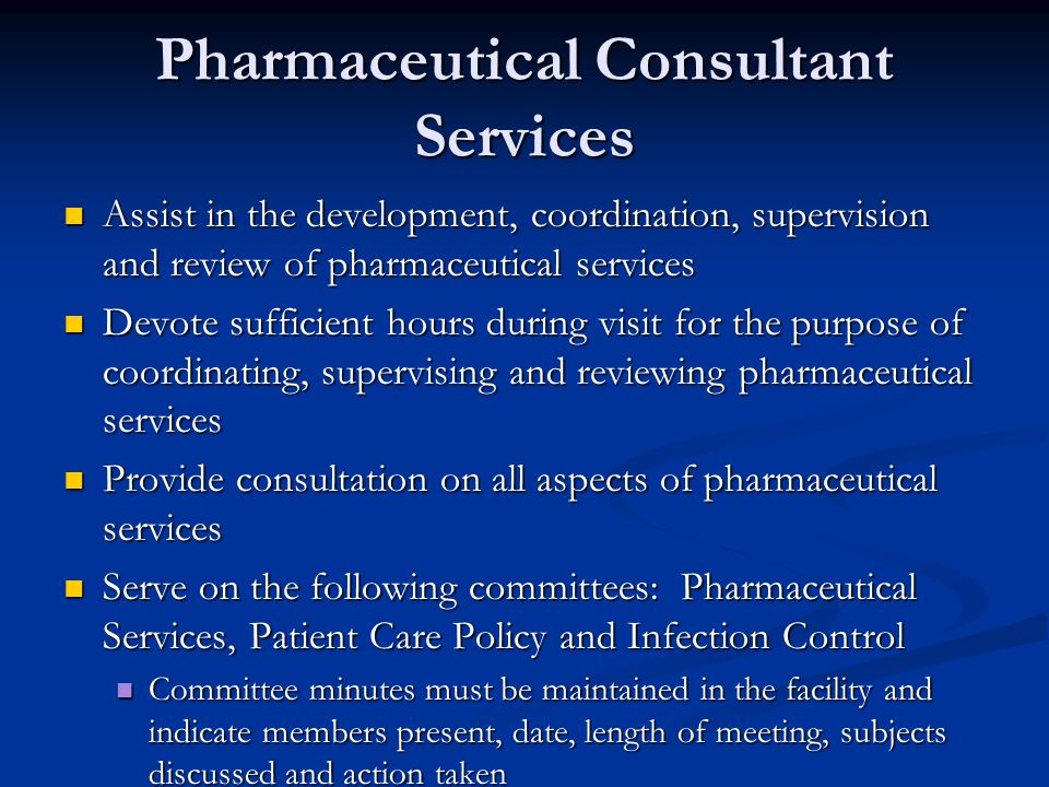 Pharmaceutical Consultant Services