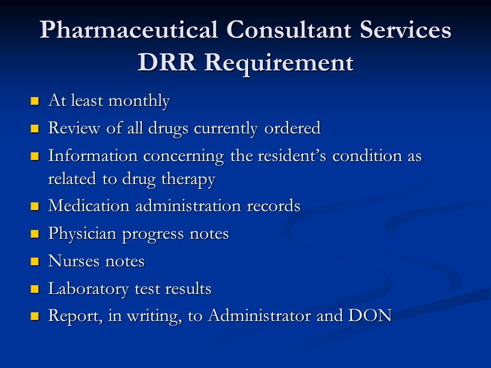 Pharmaceutical Consultant Services DRR Requirement