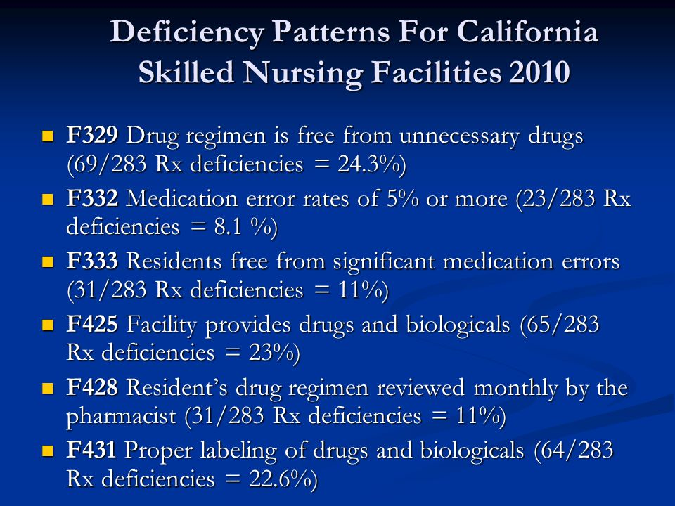 Deficiency Patterns For California Skilled Nursing Facilities 2010