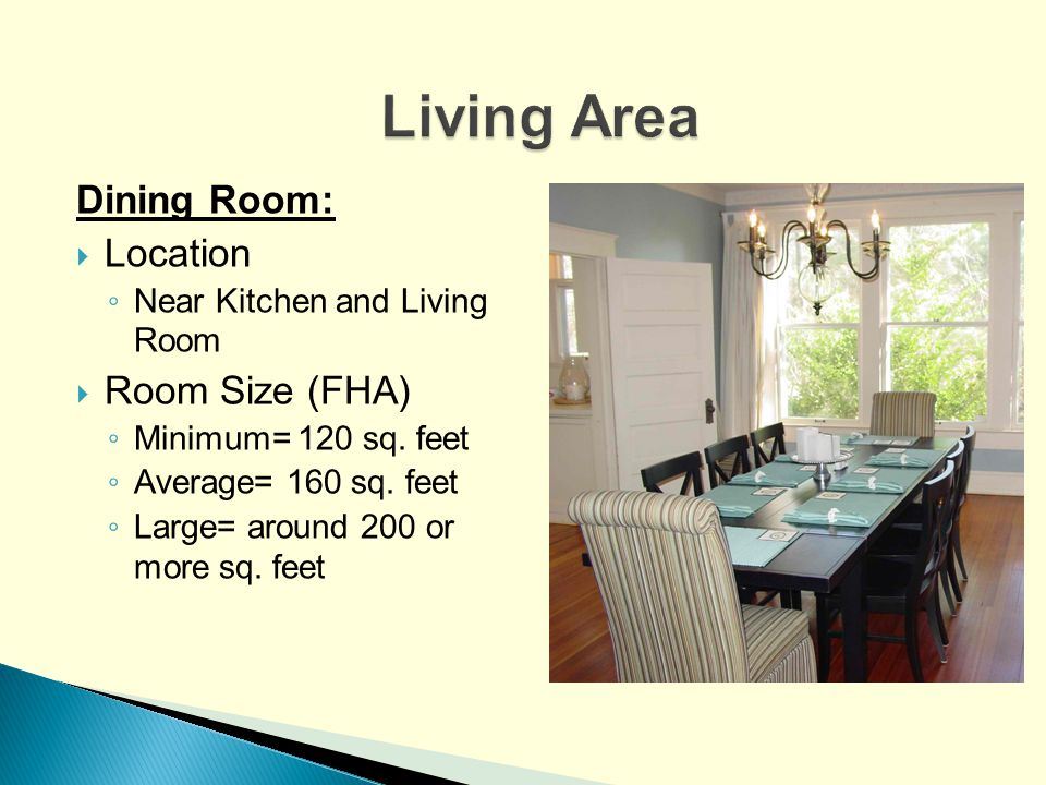 Living Area Dining Room: Location Room Size (FHA)