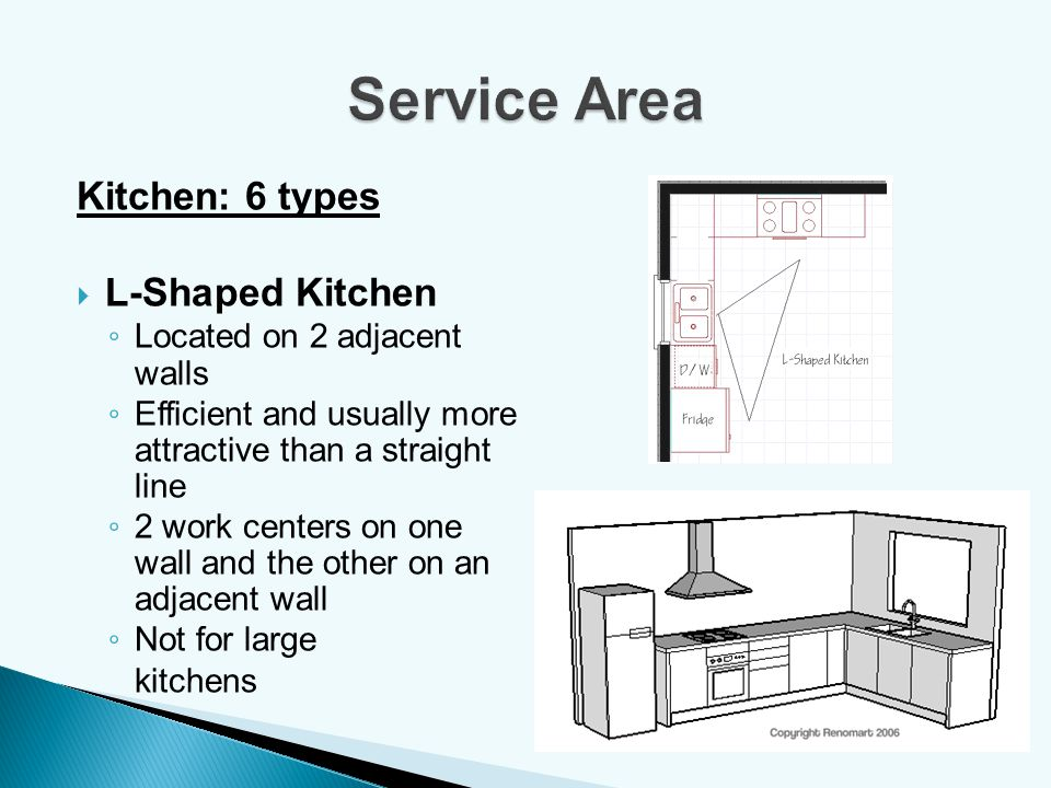 Service Area Kitchen: 6 types L-Shaped Kitchen