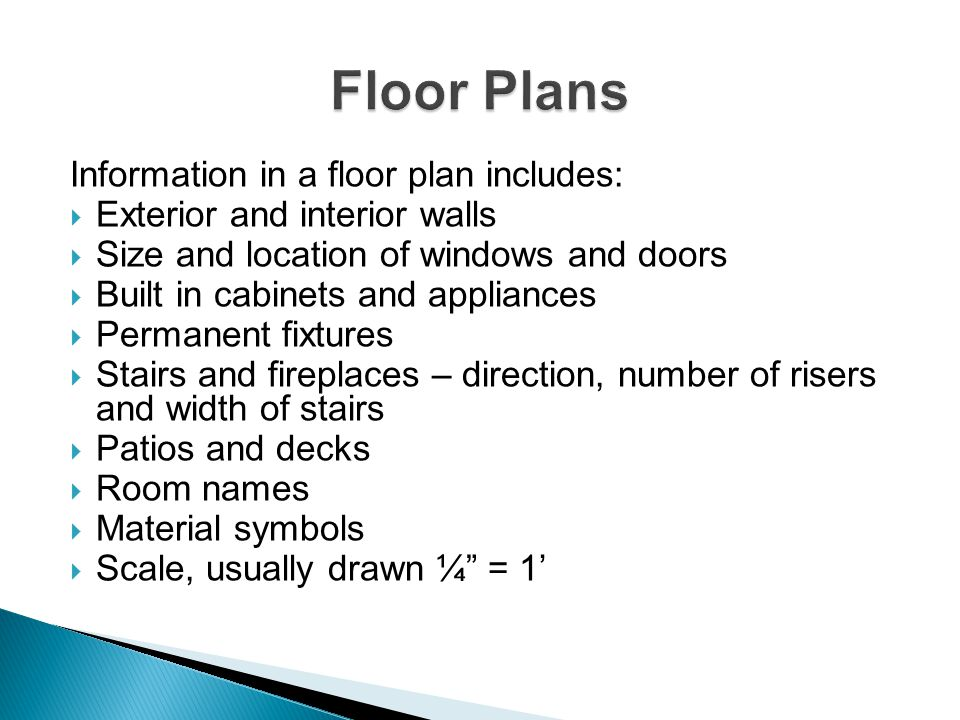 Floor Plans Information in a floor plan includes: