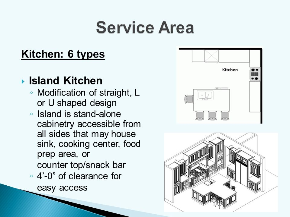 Service Area Kitchen: 6 types Island Kitchen