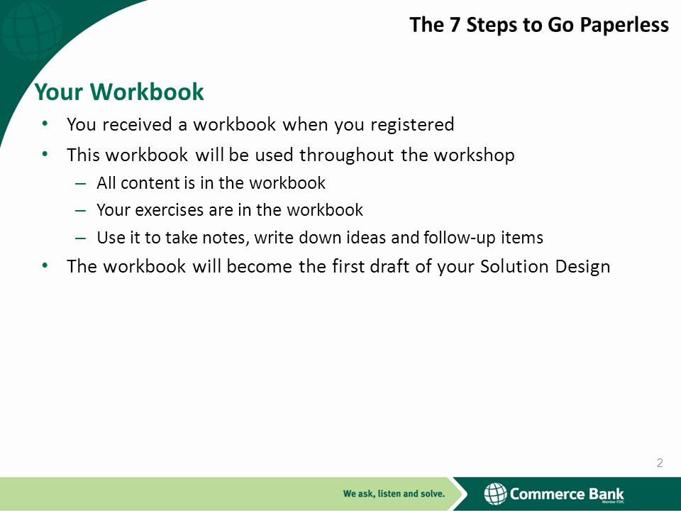 Your Workbook The 7 Steps to Go Paperless