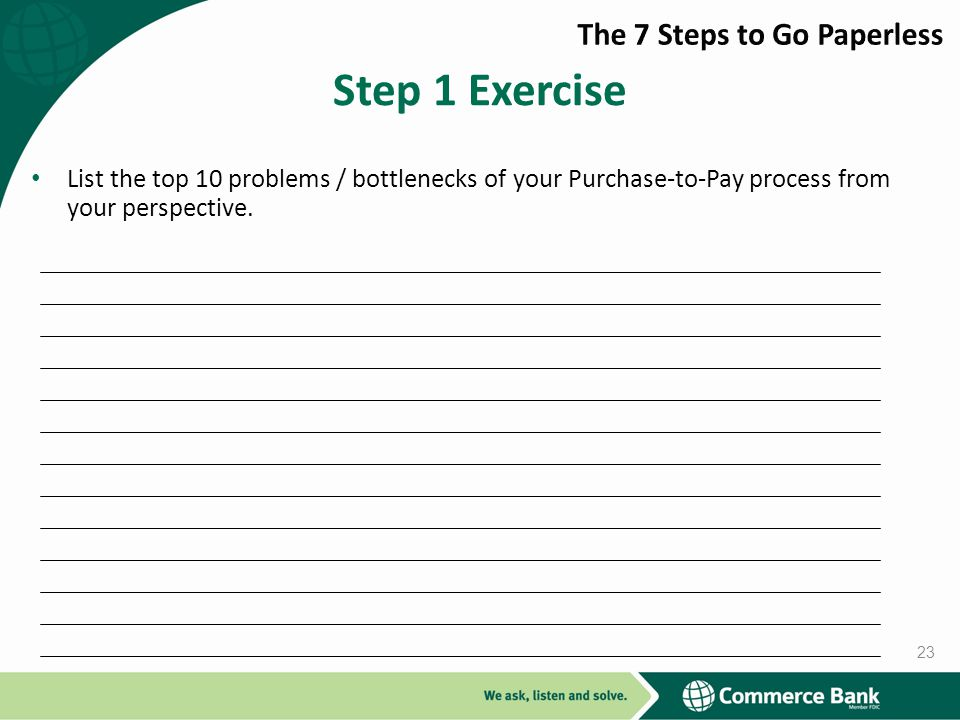 Step 1 Exercise The 7 Steps to Go Paperless
