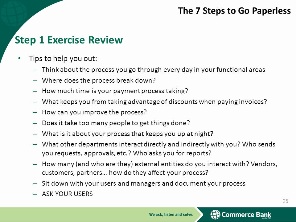 Step 1 Exercise Review The 7 Steps to Go Paperless