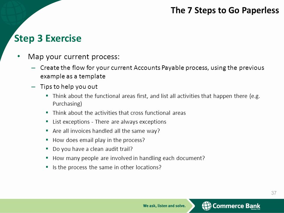 Step 3 Exercise The 7 Steps to Go Paperless Map your current process: