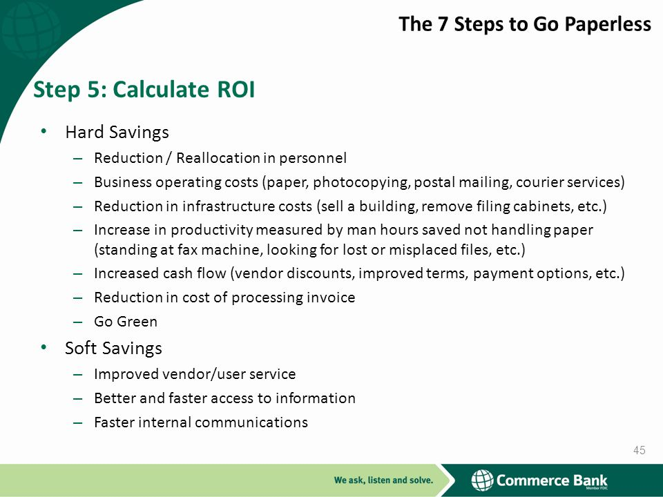 Step 5: Calculate ROI The 7 Steps to Go Paperless Hard Savings
