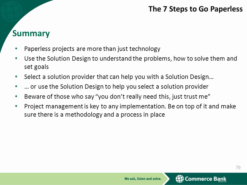 Summary The 7 Steps to Go Paperless