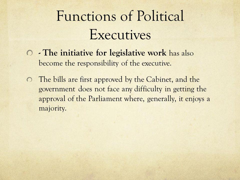 Functions of Political Executives