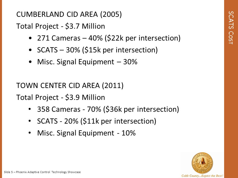 Total Project - $3.7 Million 271 Cameras – 40% ($22k per intersection)