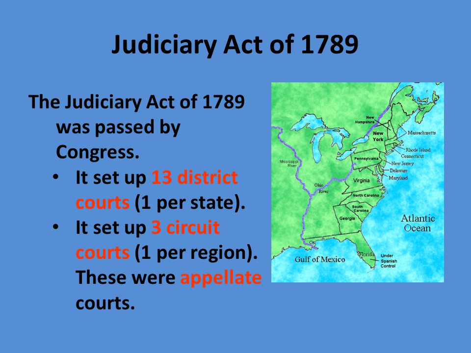 Judiciary Act of 1789 The Judiciary Act of 1789 was passed by Congress. It set up 13 district courts (1 per state).