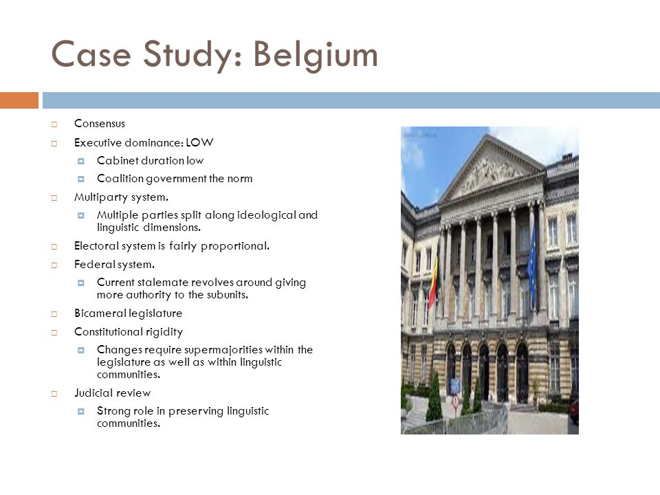 Case Study: Belgium Consensus Executive dominance: LOW