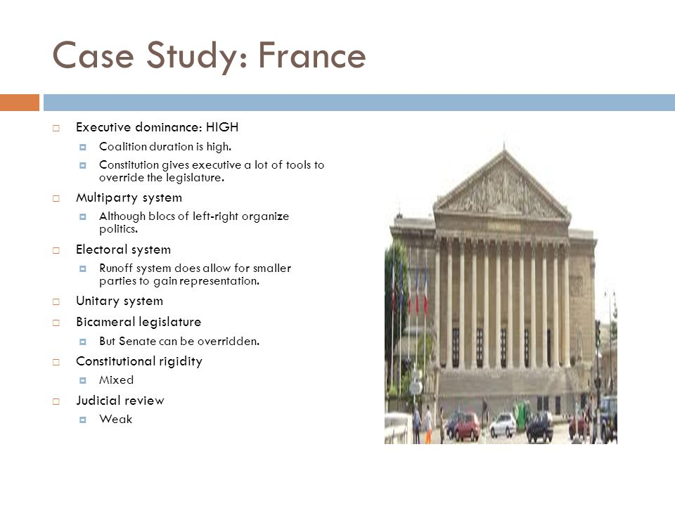 Case Study: France Executive dominance: HIGH Multiparty system