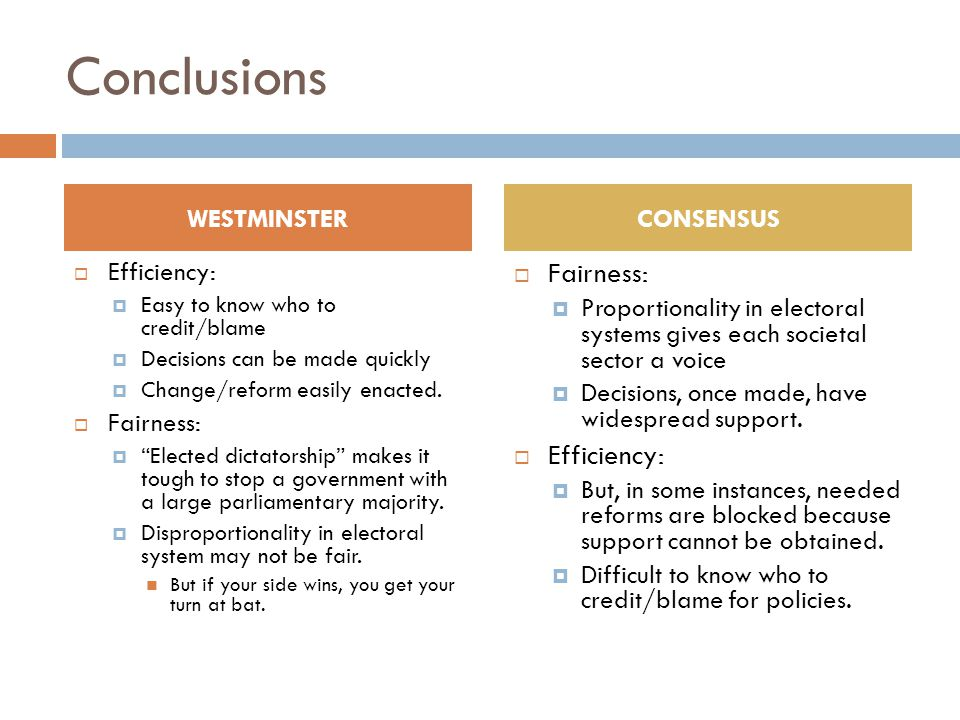 Conclusions Fairness: Efficiency: WESTMINSTER CONSENSUS Efficiency: