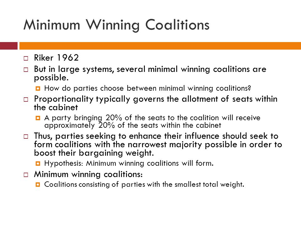 Minimum Winning Coalitions