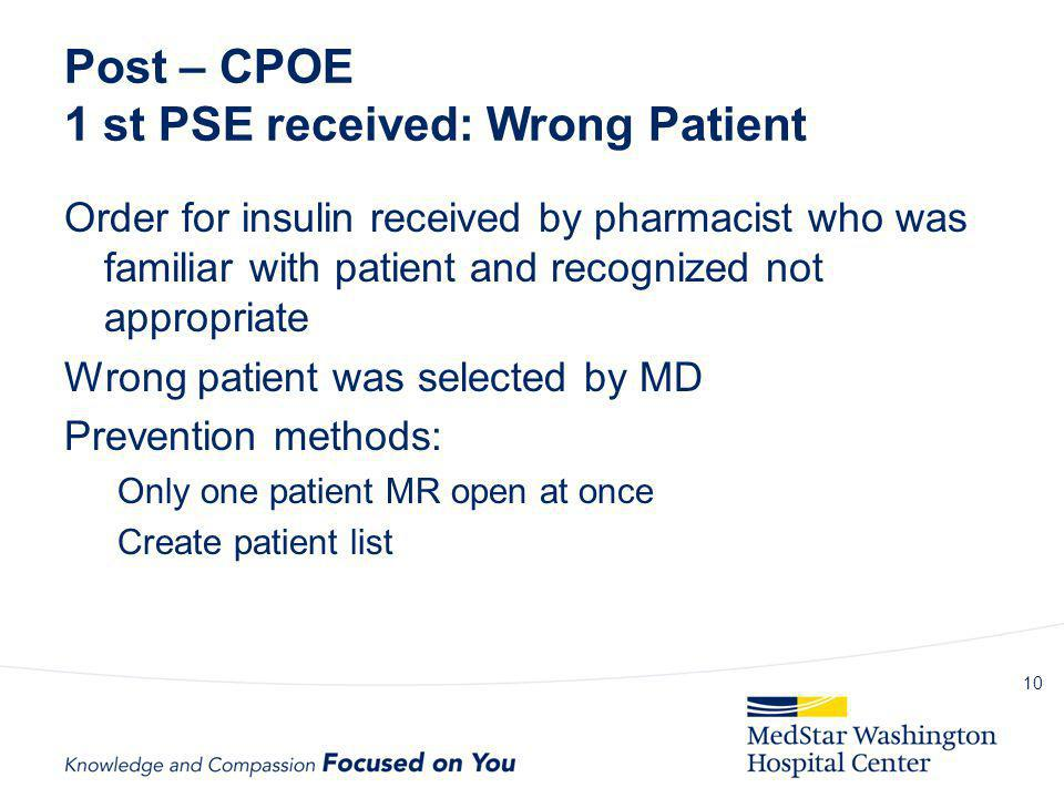 Post – CPOE 1 st PSE received: Wrong Patient