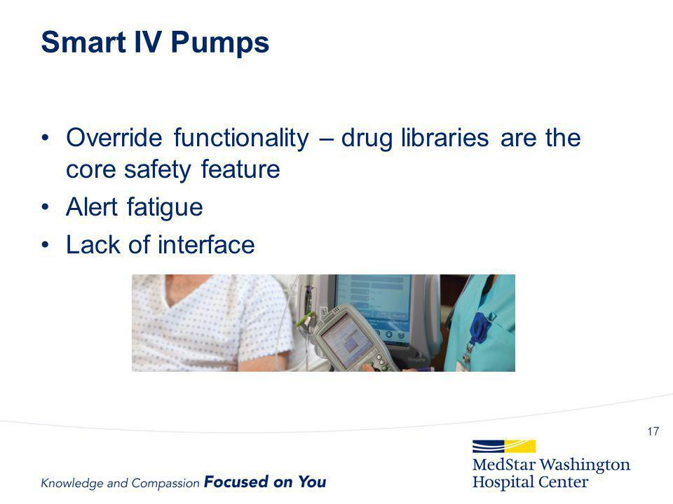 Smart IV Pumps Override functionality – drug libraries are the core safety feature. Alert fatigue.