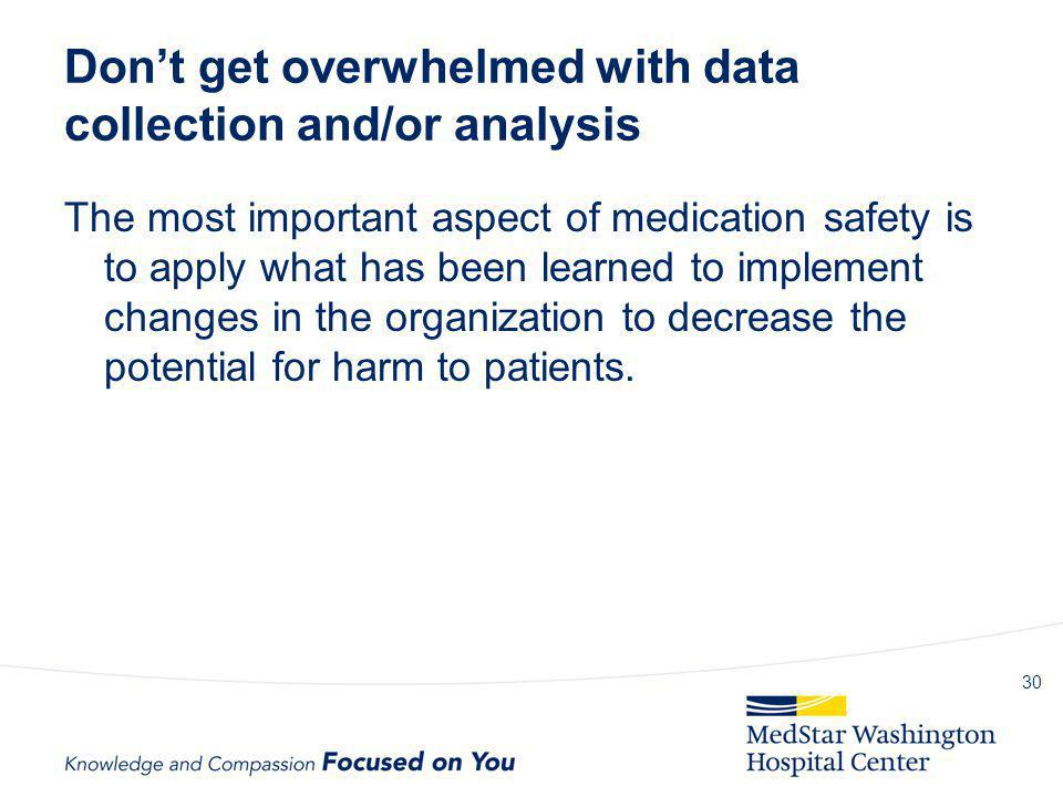 Don't get overwhelmed with data collection and/or analysis