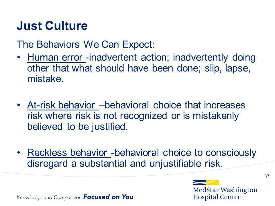 Just Culture The Behaviors We Can Expect: