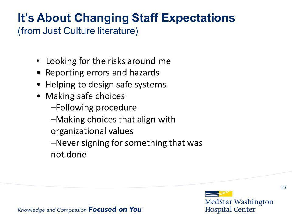 It's About Changing Staff Expectations (from Just Culture literature)