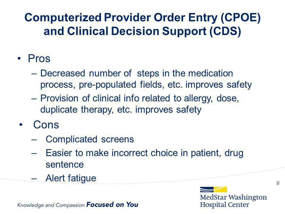 Computerized Provider Order Entry (CPOE) and Clinical Decision Support (CDS)