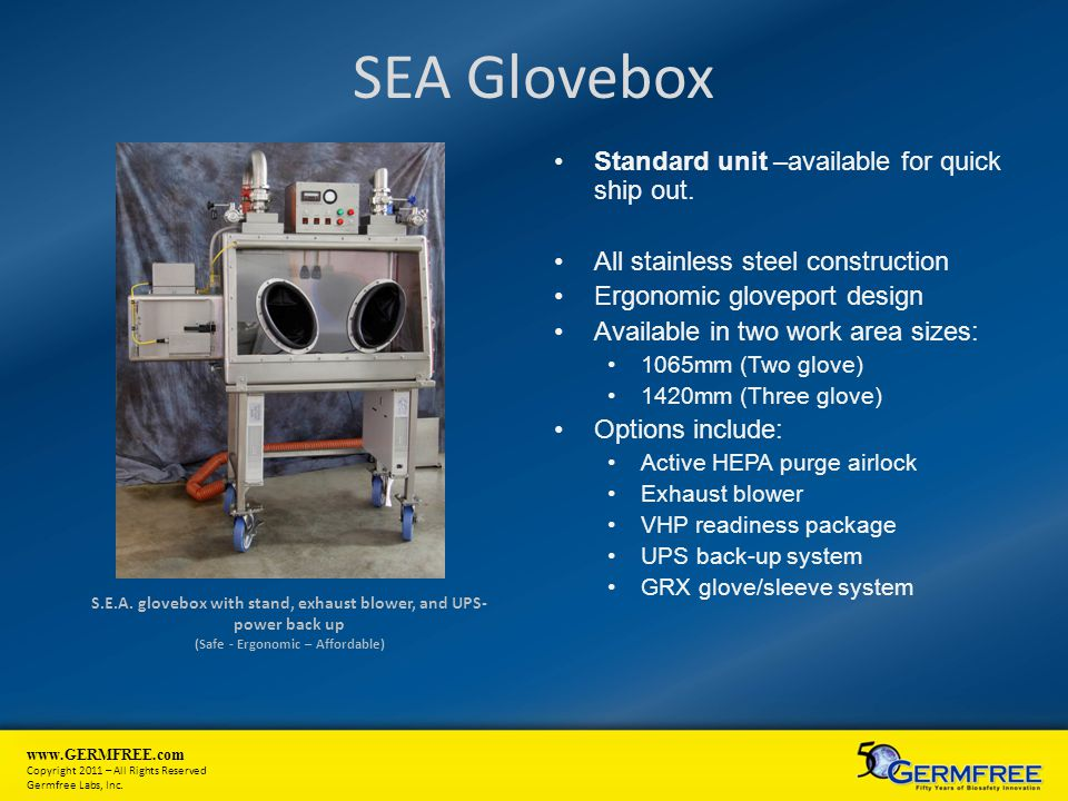 SEA Glovebox Standard unit –available for quick ship out.