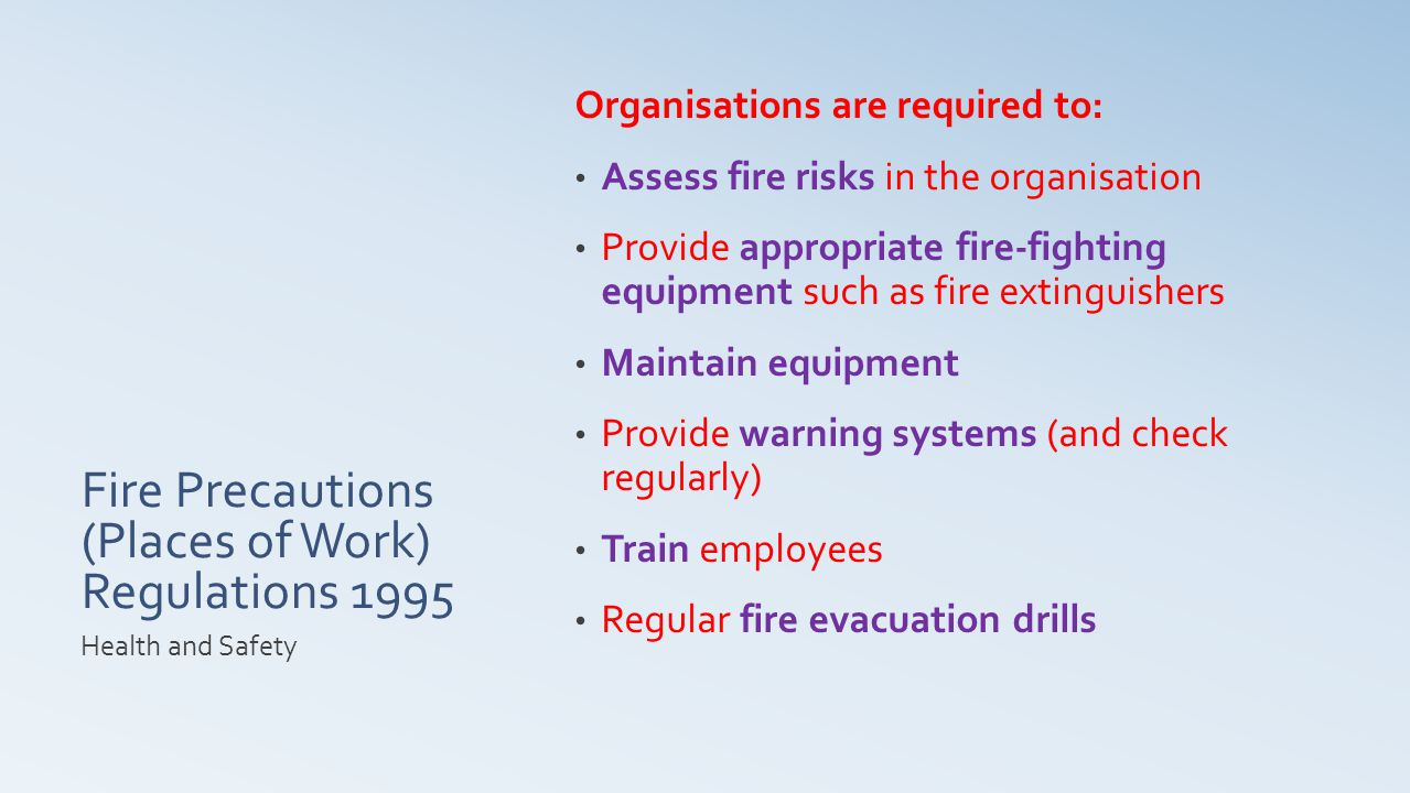 Fire Precautions (Places of Work) Regulations 1995