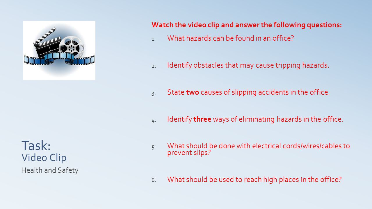 Task: Video Clip Watch the video clip and answer the following questions: What hazards can be found in an office