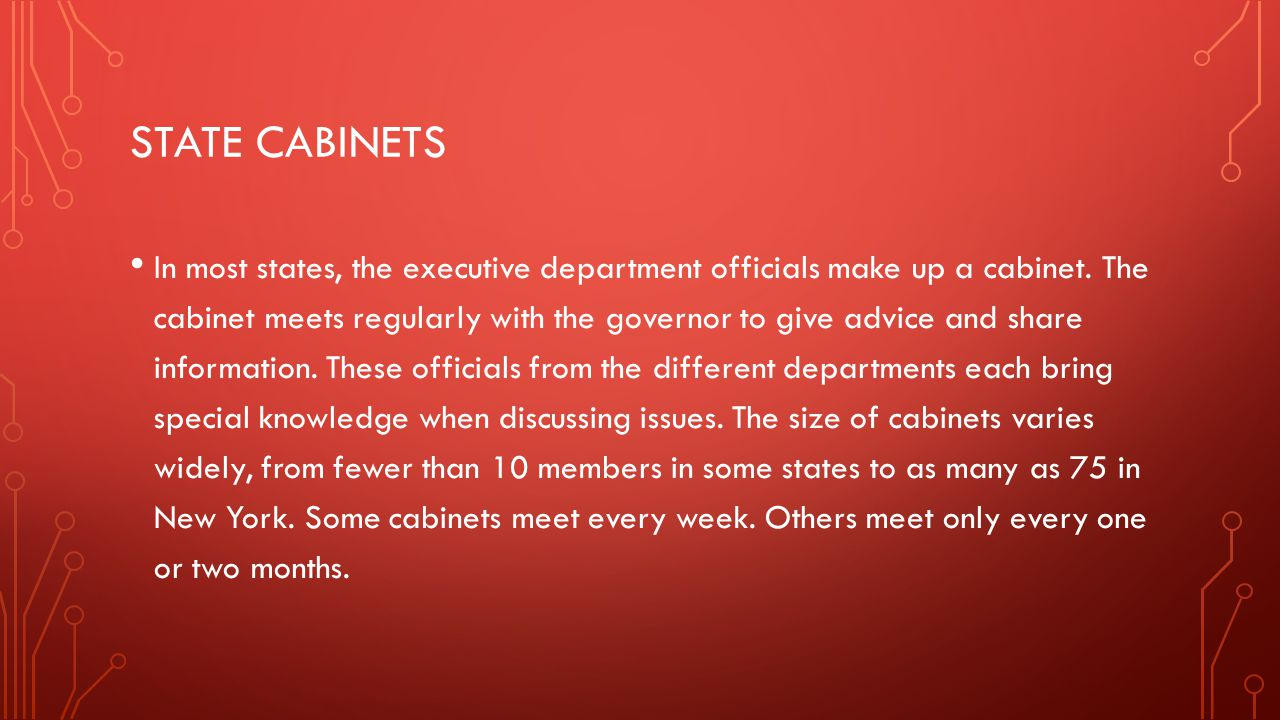State cabinets