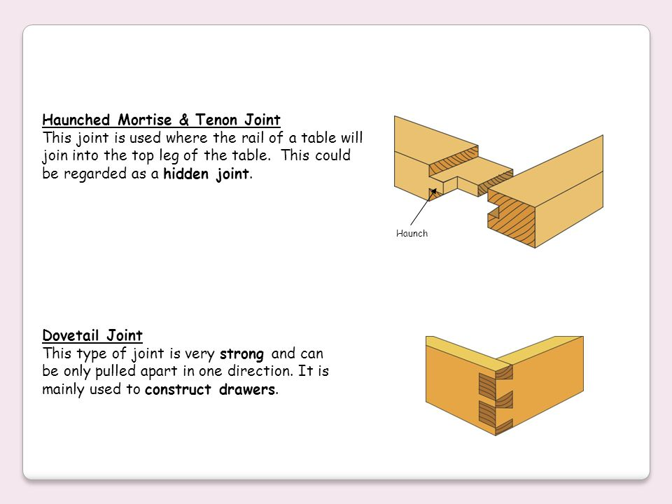Haunched Mortise & Tenon Joint