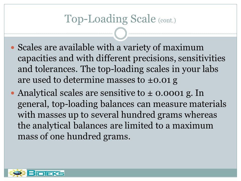 Top-Loading Scale (cont.)