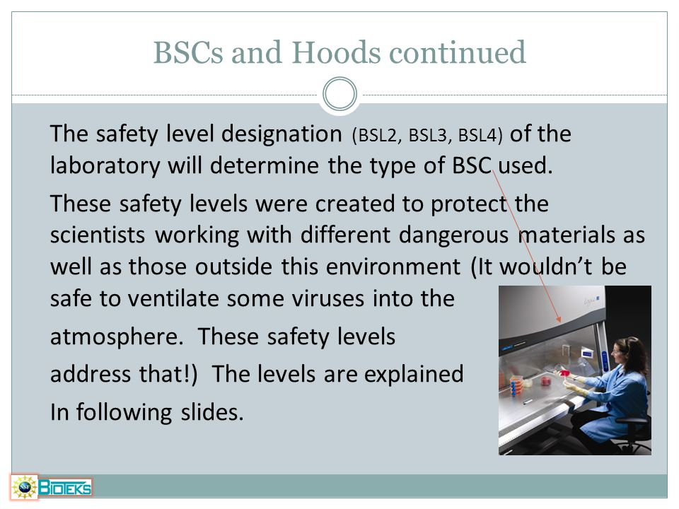 BSCs and Hoods continued