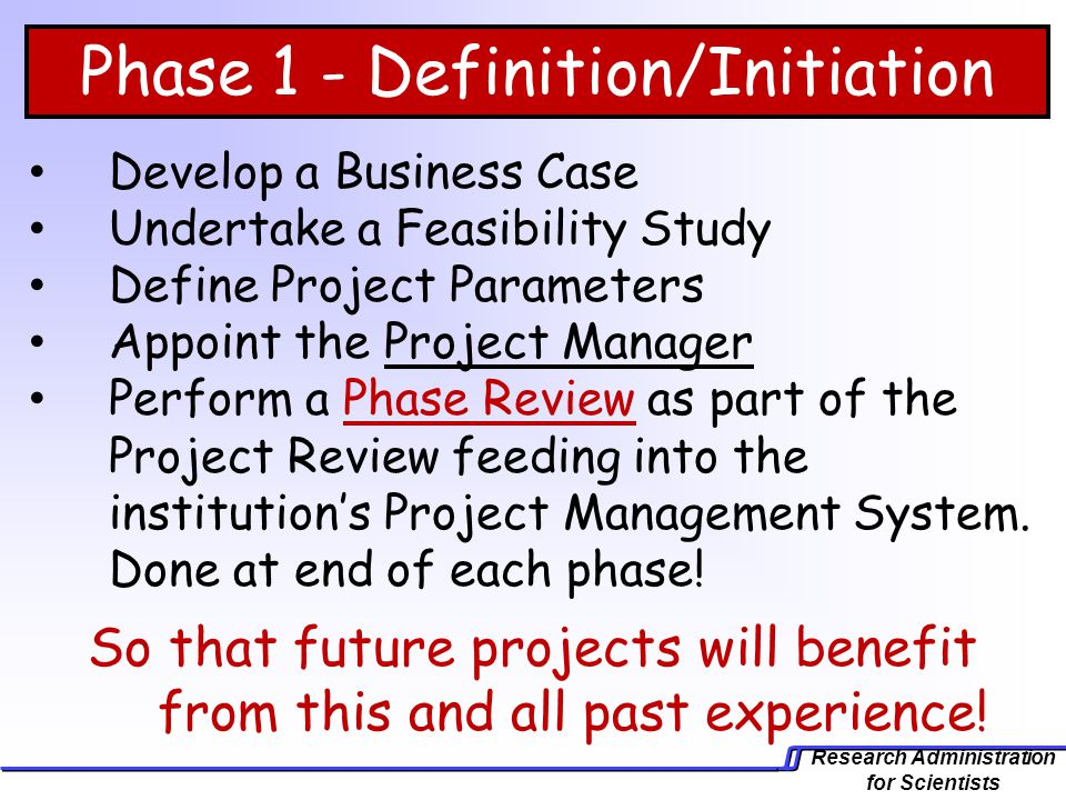 Phase 1 - Definition/Initiation