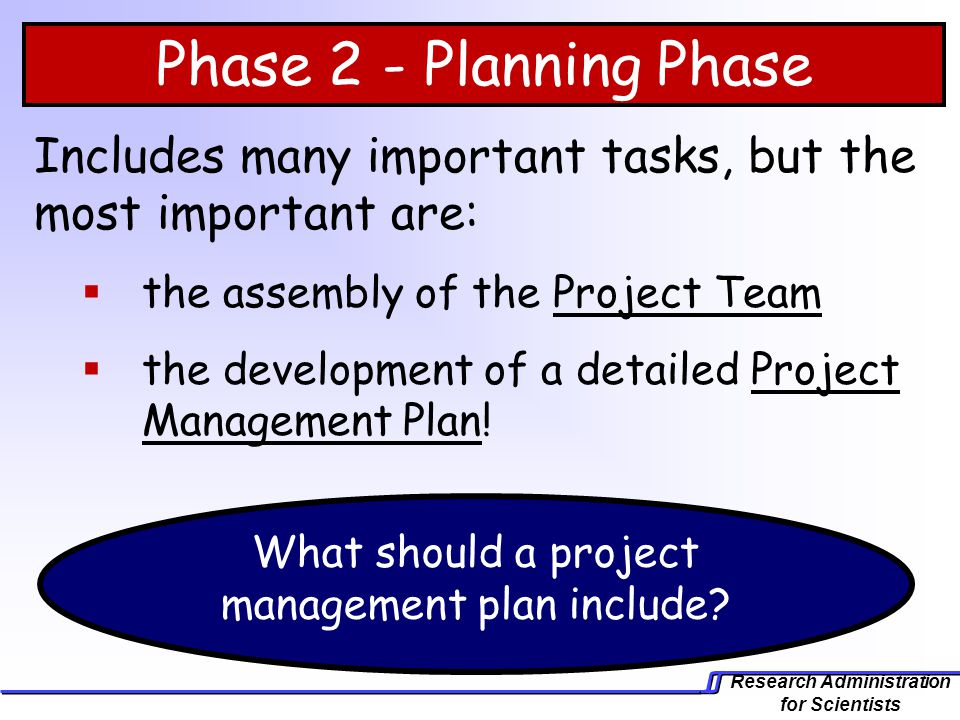 What should a project management plan include