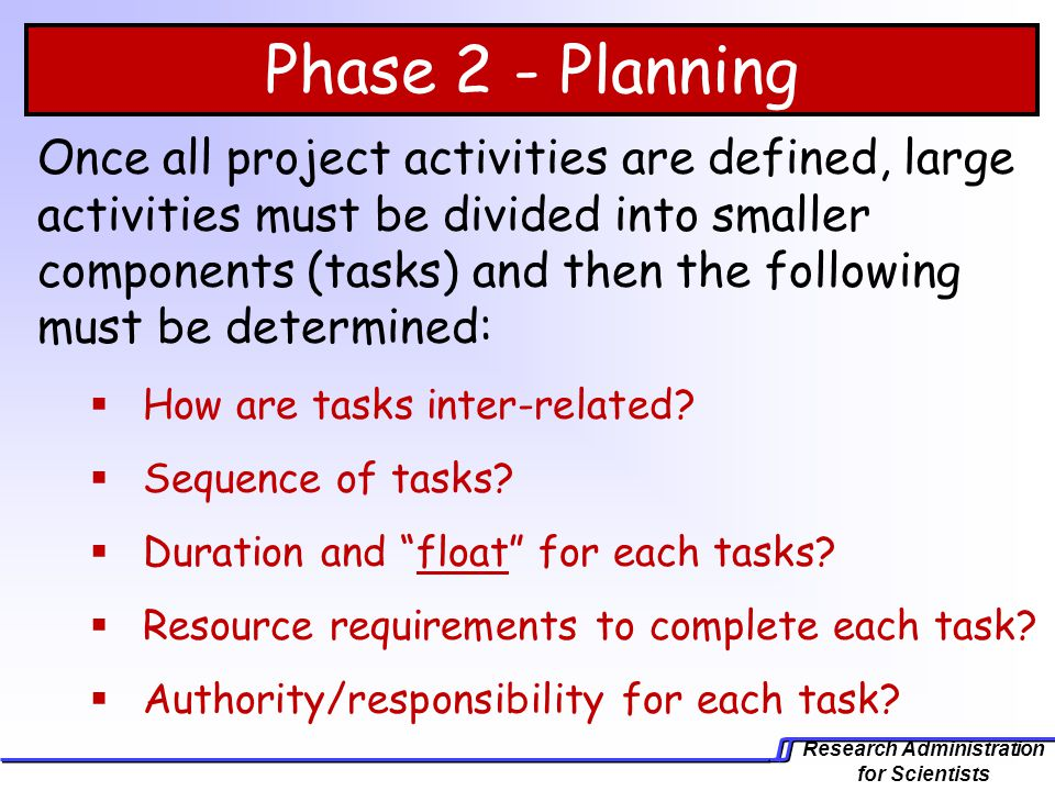 Phase 2 - Planning