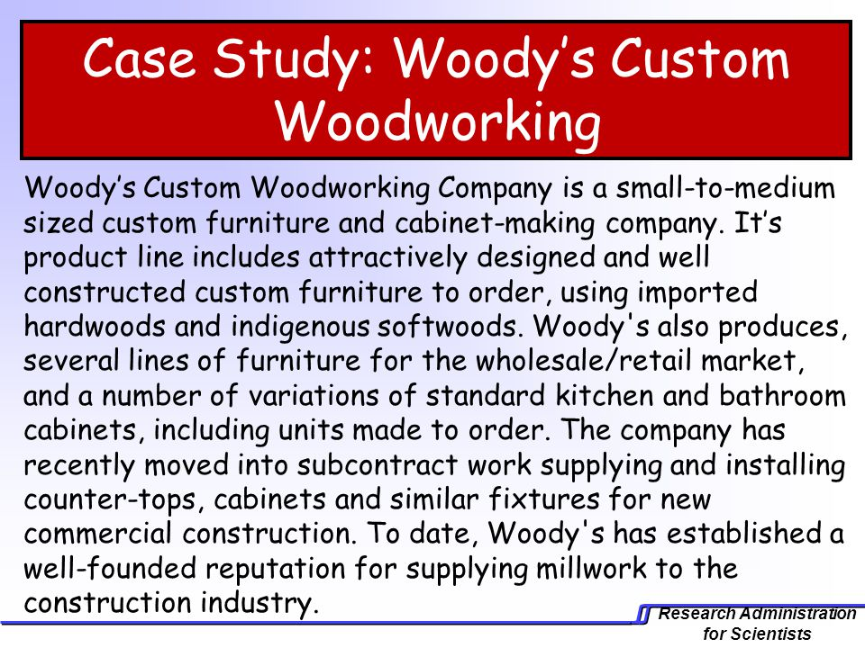 project management case study the custom woodworking company woody 2000 project Woodys 2000 project - outline 10 introduction: the woody 2000 project came up as a result of a mini boom in commercial construction activities and the intention of the management of woody's (real name custom woodworking company) to cash in on the opportunity by improving production efficiency by expanding their existing manufacturing space.