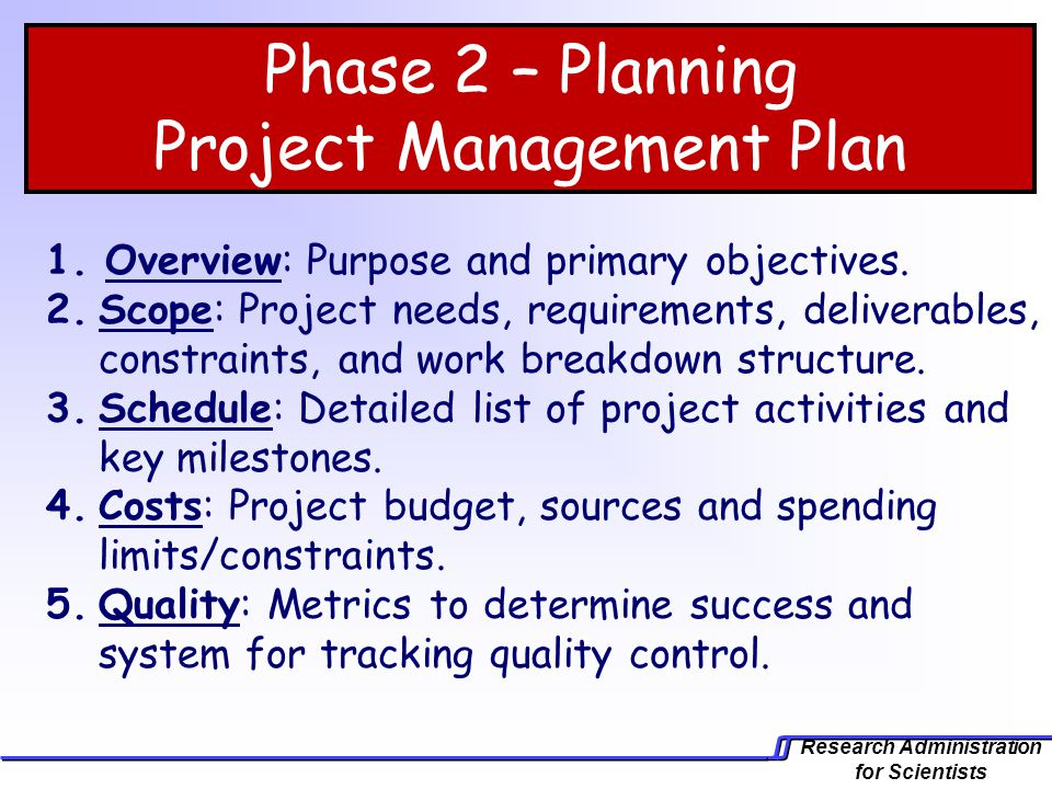 Phase 2 – Planning Project Management Plan