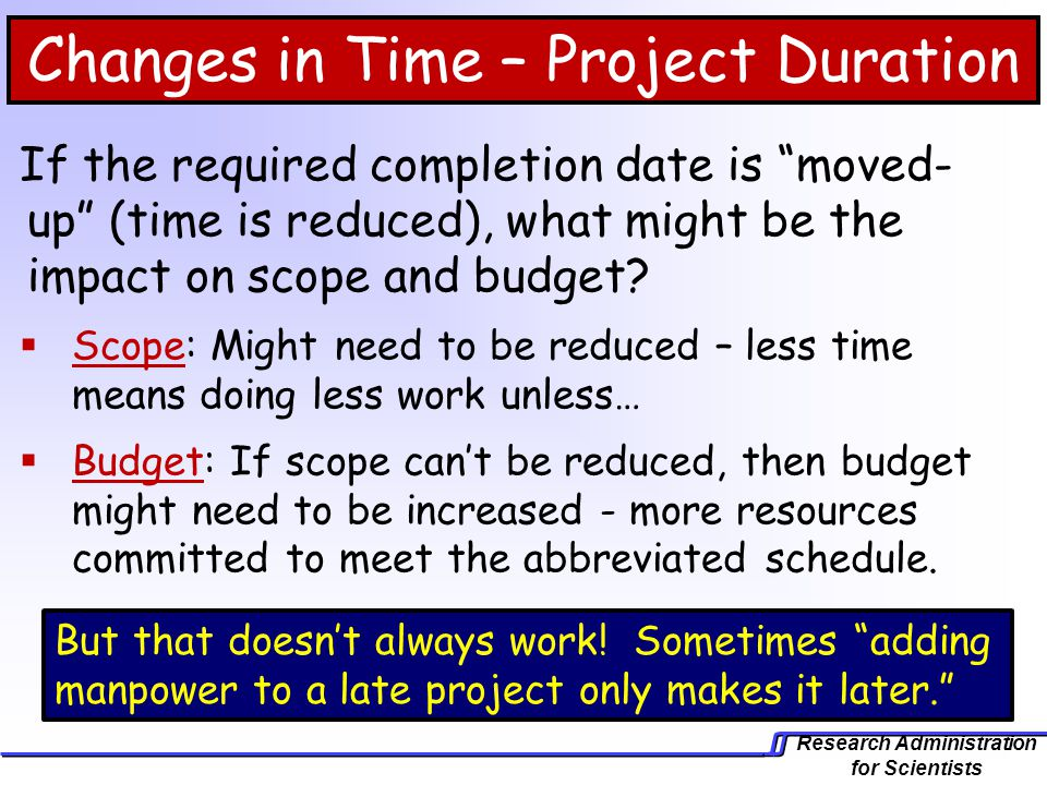 Changes in Time – Project Duration