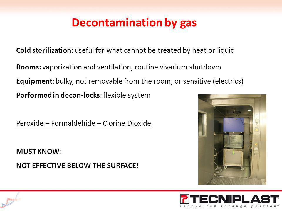 Decontamination by gas