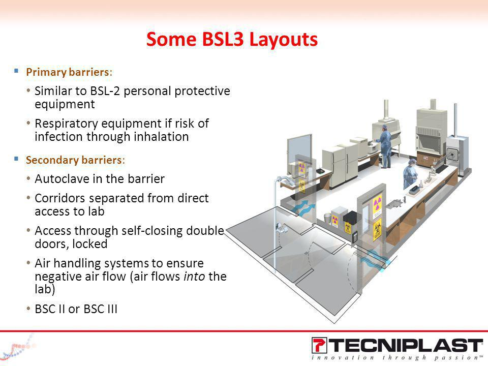 Some BSL3 Layouts Similar to BSL-2 personal protective equipment