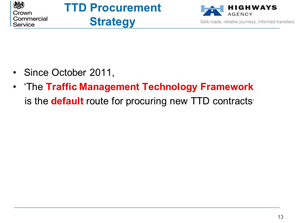 TTD Procurement Strategy