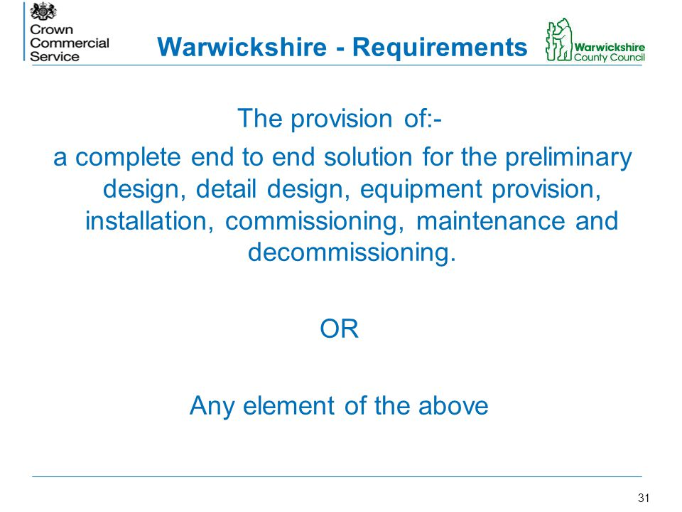 Warwickshire - Requirements