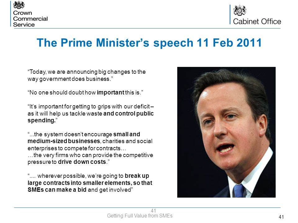 The Prime Minister's speech 11 Feb 2011