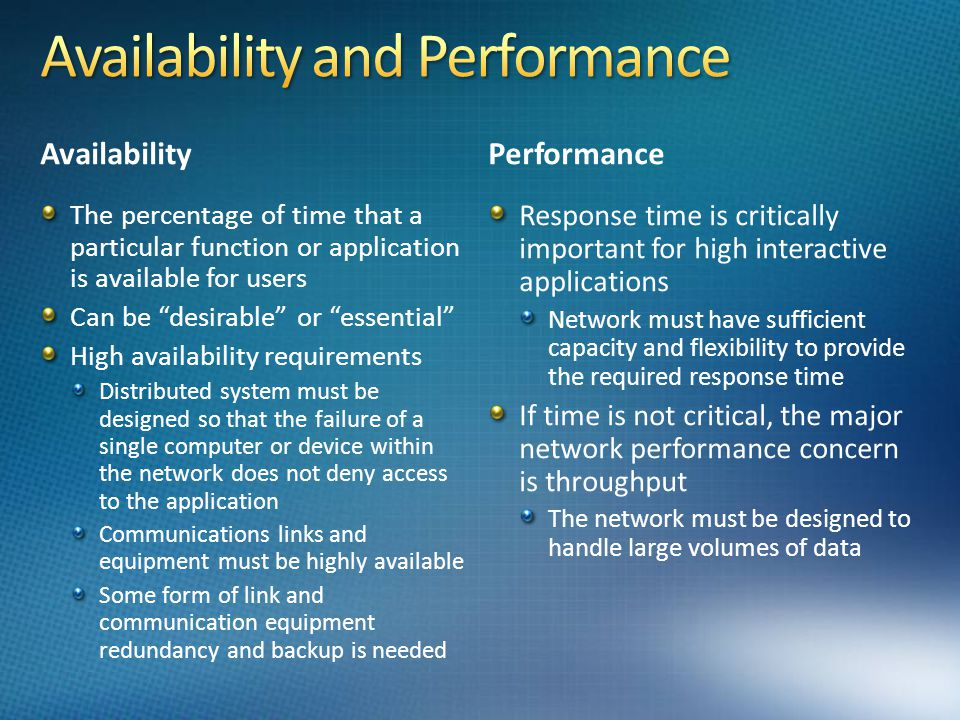 Availability and Performance