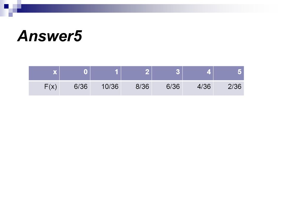 Answer5 5 4 3 2 1 x 2/36 4/36 6/36 8/36 10/36 F(x)