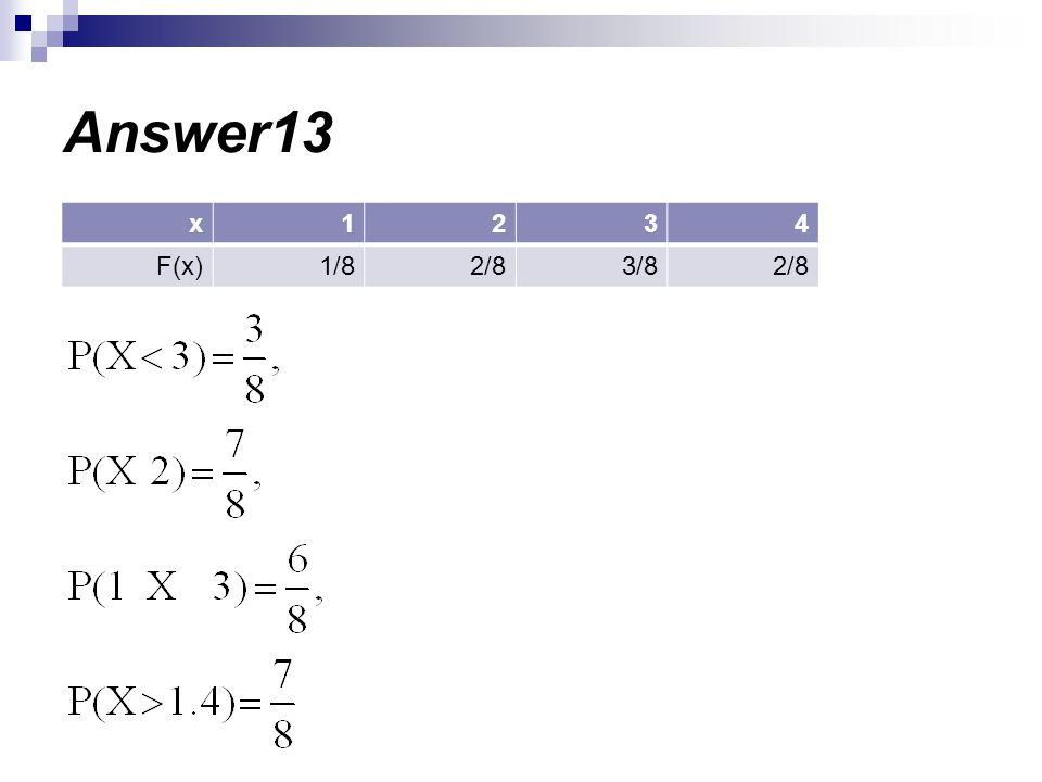 Answer13 4 3 2 1 x 2/8 3/8 1/8 F(x)